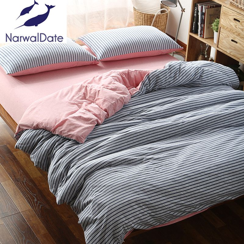 Full/Queen/King 4Pcs Bed Linen Bed Sheet Set Naked Knitted Cotton Striped  Bed