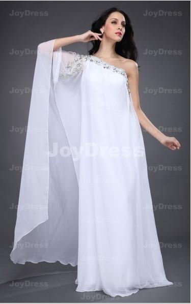 Formal Evening Dresses Ukbeading Loose A Line One Shoulder Floor