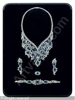Set of 5: Sapphire and diamond, sapphires stated to weigh a total of 124.60 carats, diamonds stated to weigh a total of 111.86 carats,