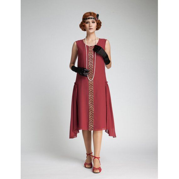 457a28166bc 1920s dress in maroon with beaded trim