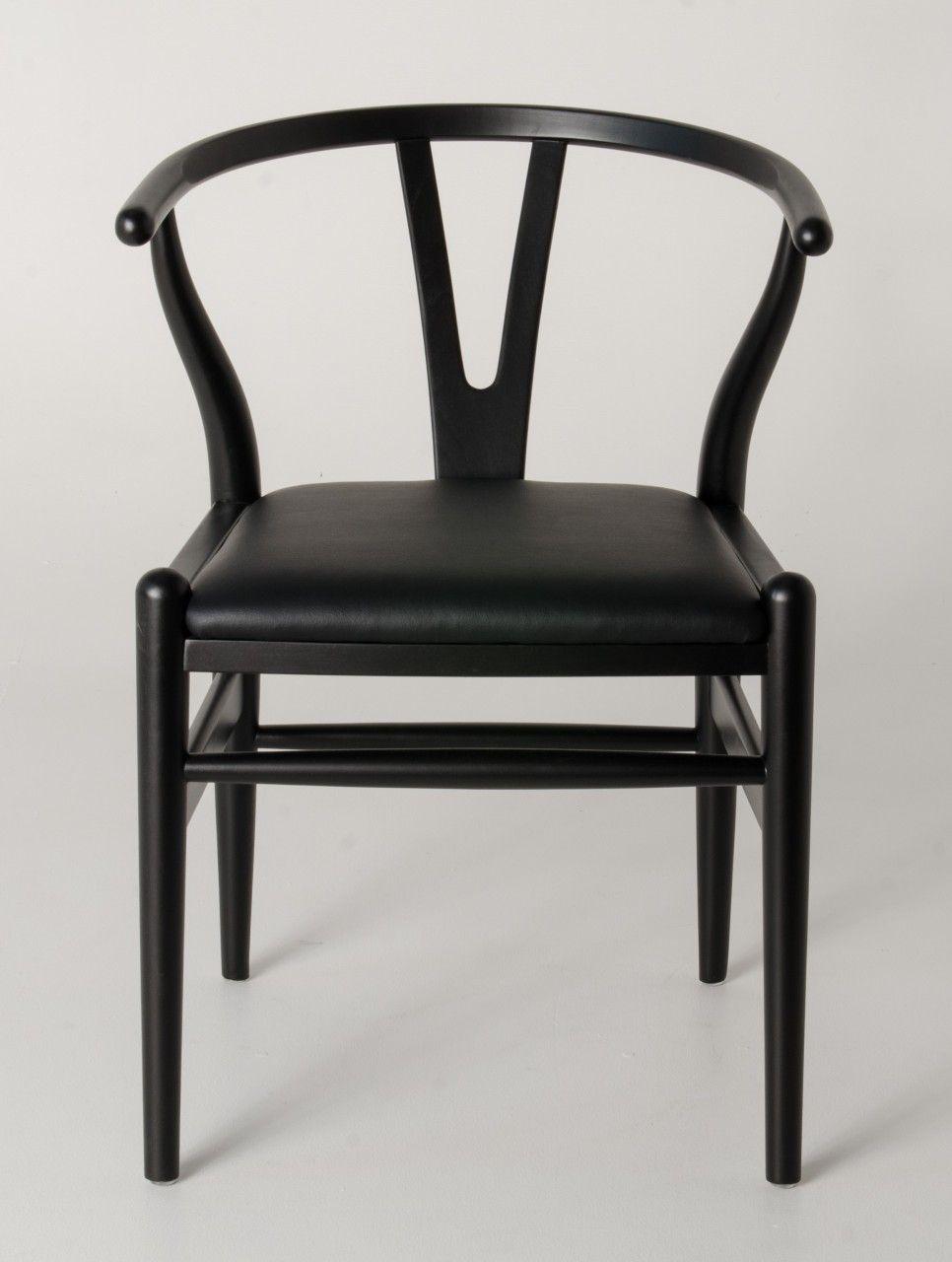 replica hans wegner ch24 wishbone chair black frame with pu seat