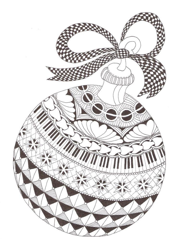 Zentangle Vorlagen Weihnachten kostenlos Christbaumkugel #deko ...
