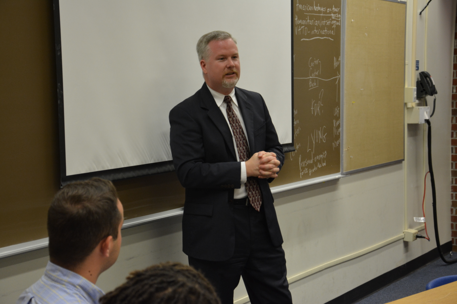 Gainesville Mayor Ed Braddy stopped by COE Prof. Elizabeth Washington's class to talk with her ProTeach master's and specialist's degree students in secondary social studies methods. Braddy shared personal insight on the local government and civic engagement.