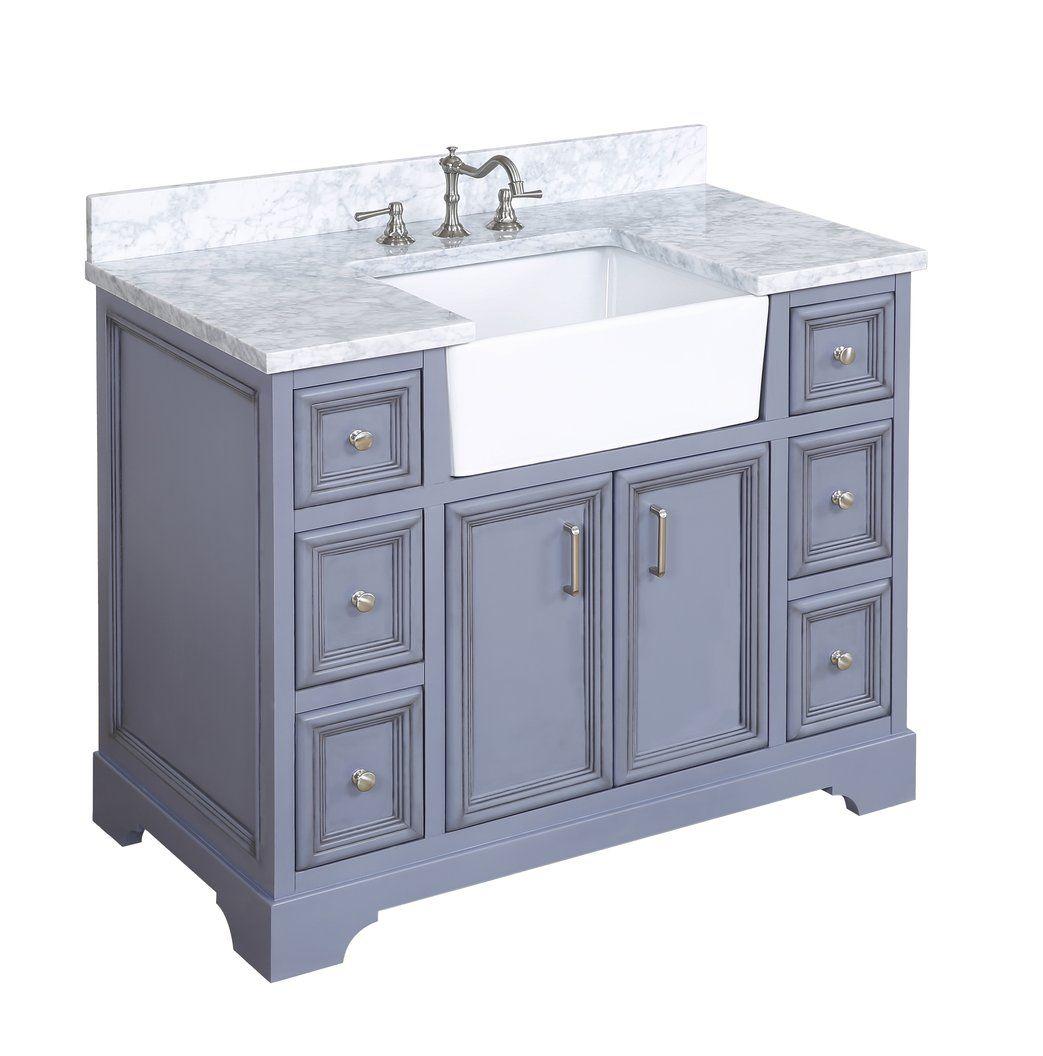 Zelda 42inch Farmhouse Vanity (Carrara/Powder Gray