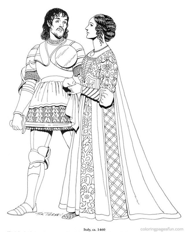 Renaissance Costumes and Clothing Coloring Pages 12 | Coloring ...