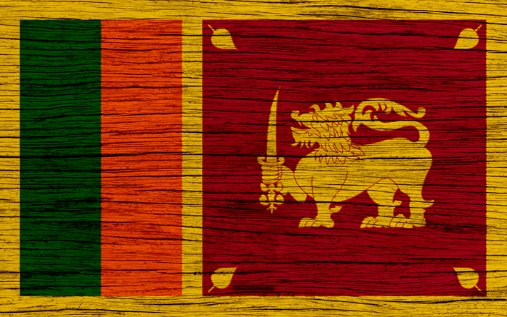 Download Wallpapers Flag Of Sri Lanka 4k Asia Wooden Texture