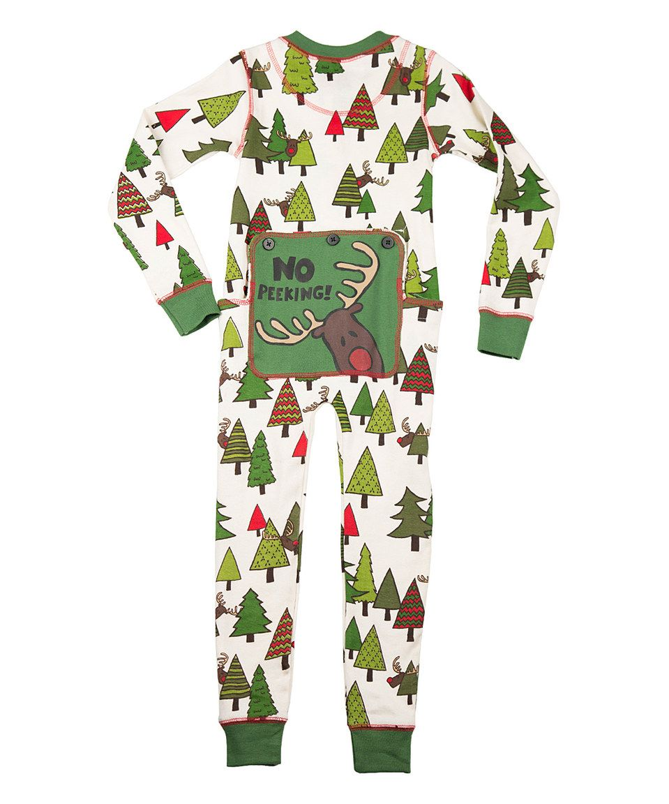 ffe90146ba This Cream   Green  No Peeking  Flapjack Pajamas - Toddler   Kids by Lazy  One is perfect!  zulilyfinds