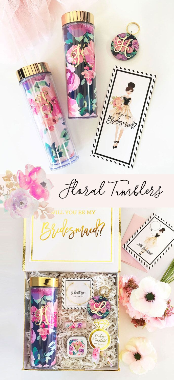 Fl Tumbler Initial Mugtumbler Bridesmaid Gift Maid Of Honor Bride For Bridal Shower