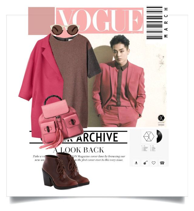 """""""Uix"""" by nguyen-huynh-khanh-thy ❤ liked on Polyvore featuring Prada, Illesteva, Toast, Chelsea Crew, Piazza Sempione, Gucci, Pink, gucci, EXO and xiumin"""