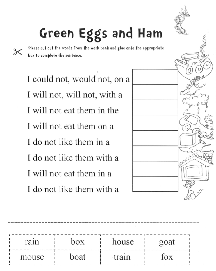 Dr Seuss Worksheets For Kindergarten carolinabeachsurfreport – Dr Seuss Worksheets Printables
