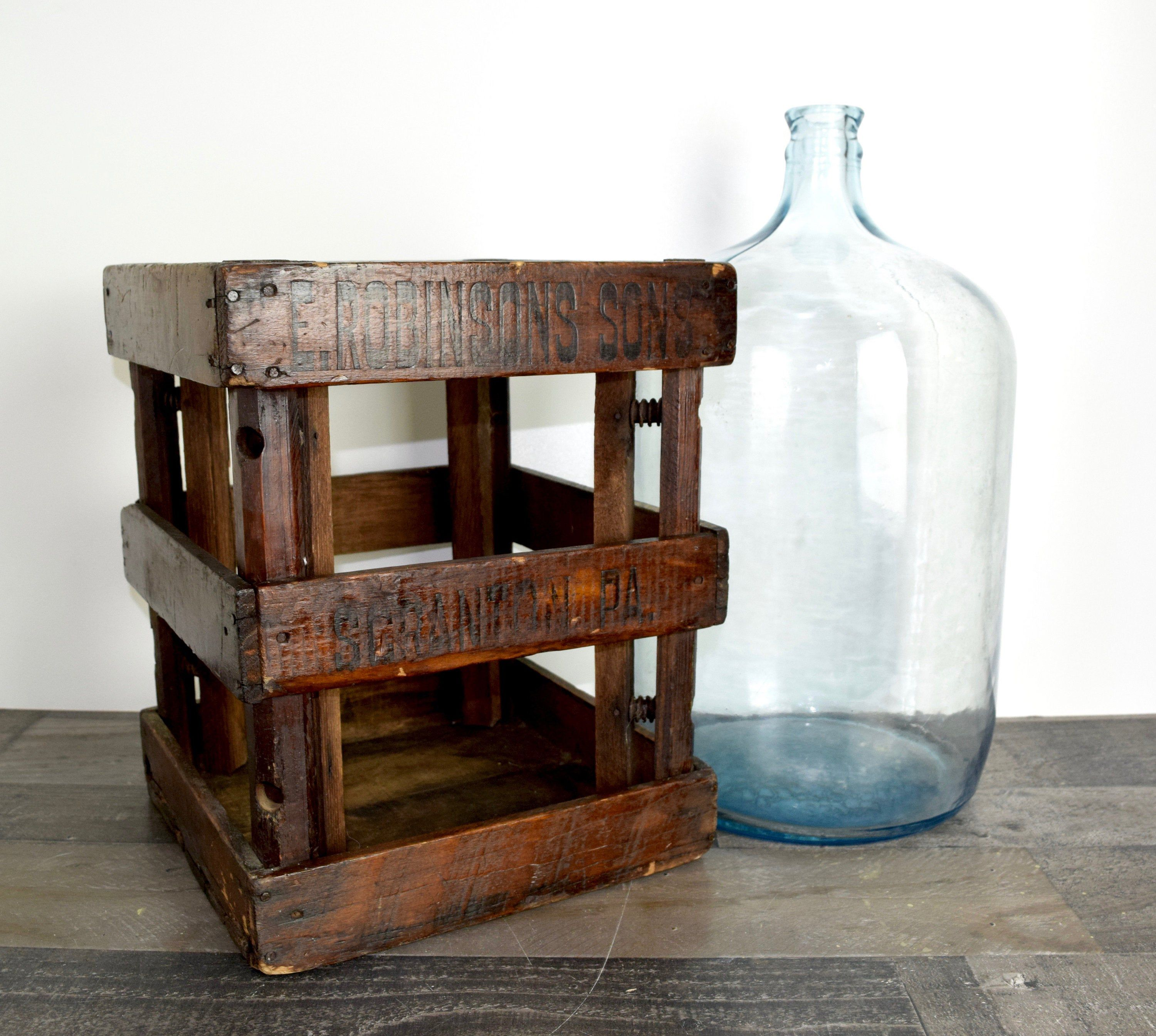 Rare Pre Prohibition E Robinson S Sons Scranton Pa Crate With Blue Carboy 1890 189 In 2020 Kitchen Jars Storage Rustic Dining Furniture Dining Furniture Makeover