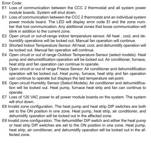 Dometic Thermostat Error Codes E1 E2 E3 E4 E5 E6 E7 E8 E9 Error Code Coding Thermostat