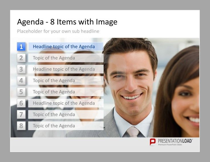 Professional PowerPoint Agenda Template Image and 8 items for - agenda template