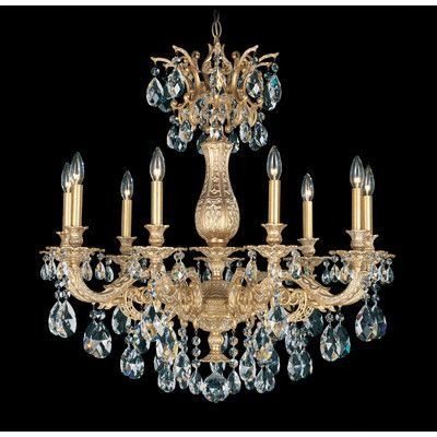Schonbek Milano  9 Light Crystal Chandelier Base Finish: Roman Silver, Shade Color: Swarovski Spectrum