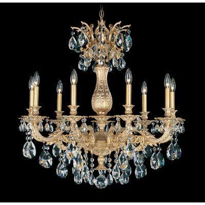 Schonbek Milano  9 Light Crystal Chandelier Base Finish: Roman Silver, Shade Color: Swarovski Spectrum