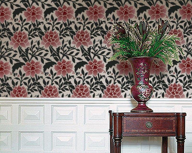 Reusable Damask Pattern STENCIL for Walls DIY Home Decor William Morris Damask HAMMERSMITH
