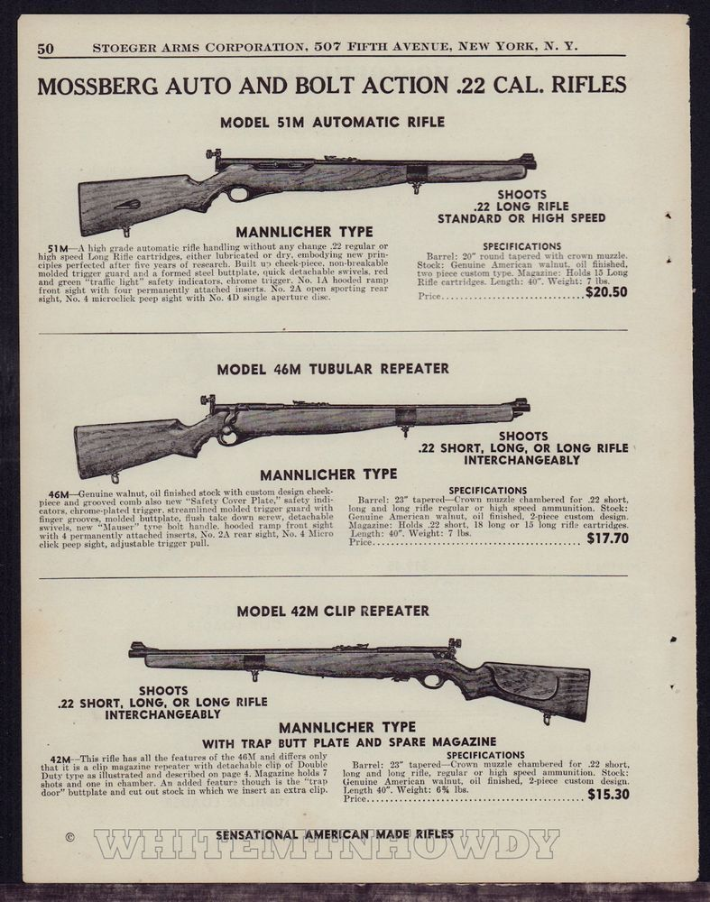 1943 Mossberg Model 41m Automatic 46m 42m Repeater 22 Rifle Ad