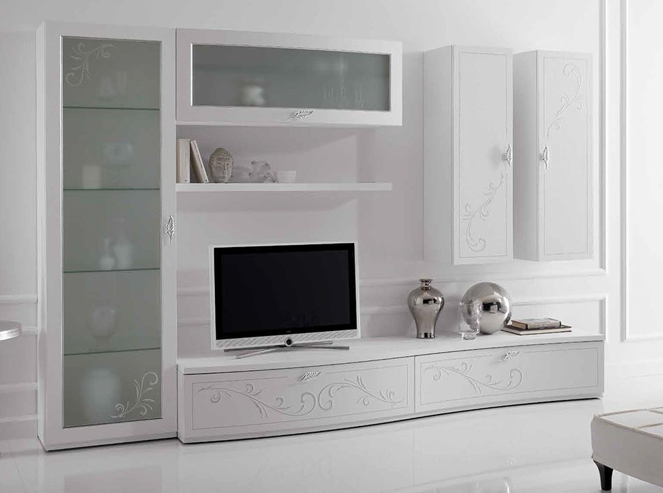 italian wall unit prestige liberty 107 white by spar 6 t v u n i t pinterest. Black Bedroom Furniture Sets. Home Design Ideas