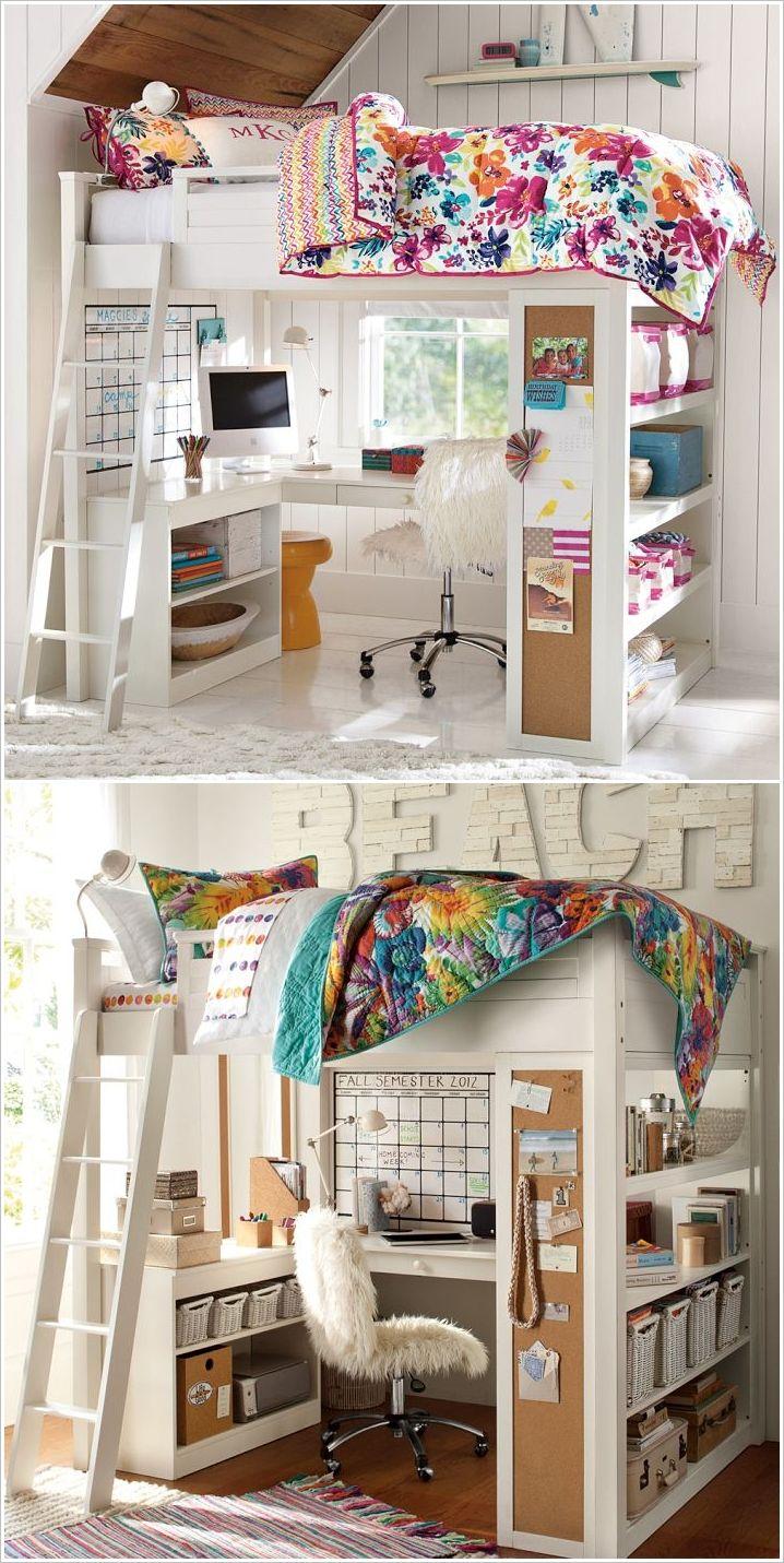 20 geniales ideas para aprovechar el espacio en habitaciones peque as litera con escritorio - Escritorios para habitaciones pequenas ...