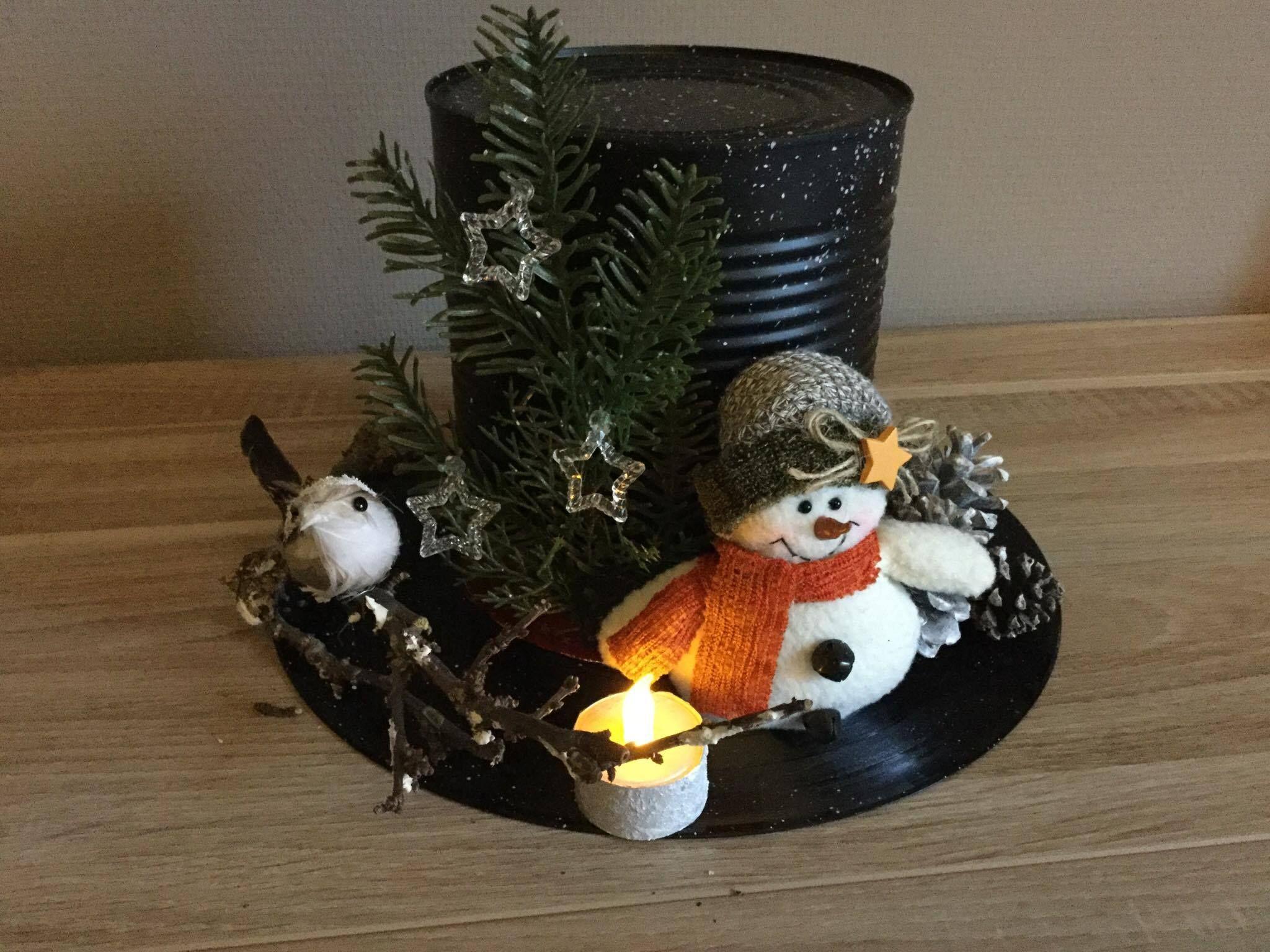 Sneeuwman hoed maken Langspeel plaat met groot blik er boven op