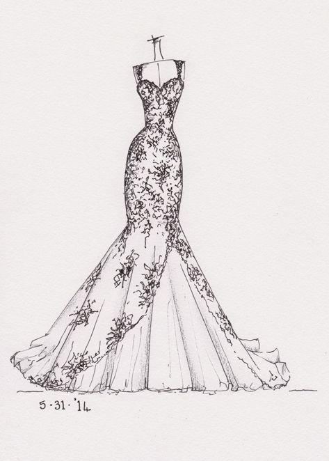 Www Etsy Dresssketch Wedding Dress Sketch
