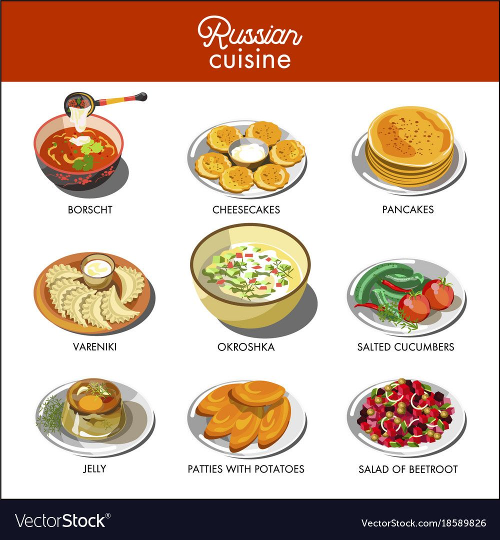 Russian Cuisine Traditional Food Dishes Of Pancakes Cucumber Pickles Or Borscht And Potato Patty Okroshka Veget Food Infographic Traditional Food Food Dishes
