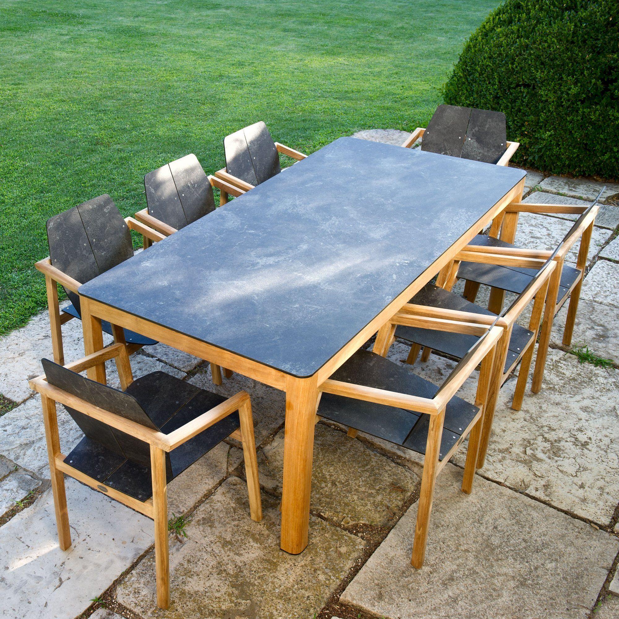 Table de jardin extensible en bois et verre avec chaises assorties ...