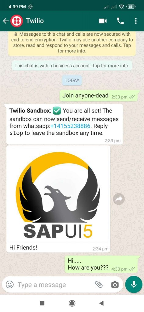 WhatsApp Integration with SAPUI5 Application using Twilio