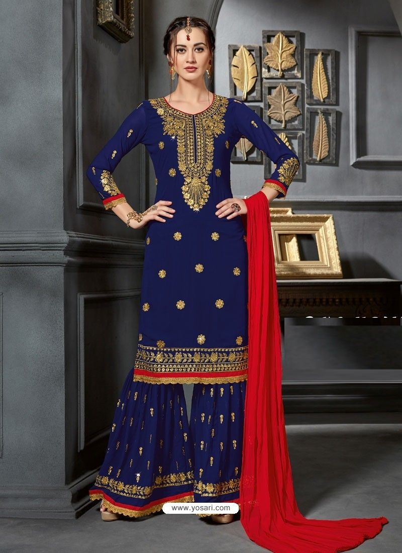 aa2ef1b9bc2 Navy Blue Faux Georgette Heavy Stone Embroidered Designer Palazzo Suit