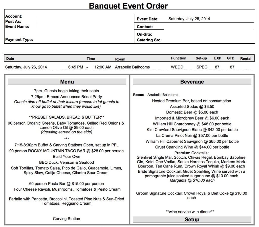 What Is A Banquet Event Order Beo How To Plan Event Planning