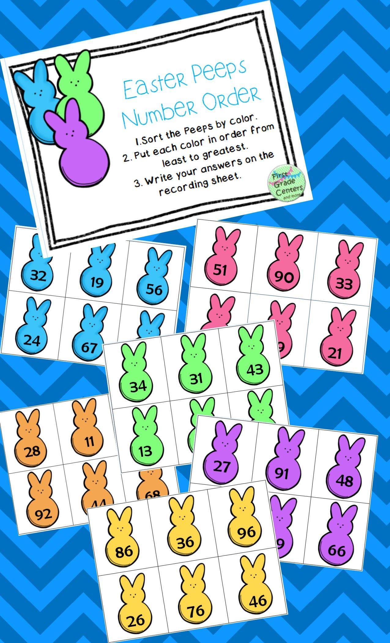 Ordering Numbers Easter Peeps Freebie