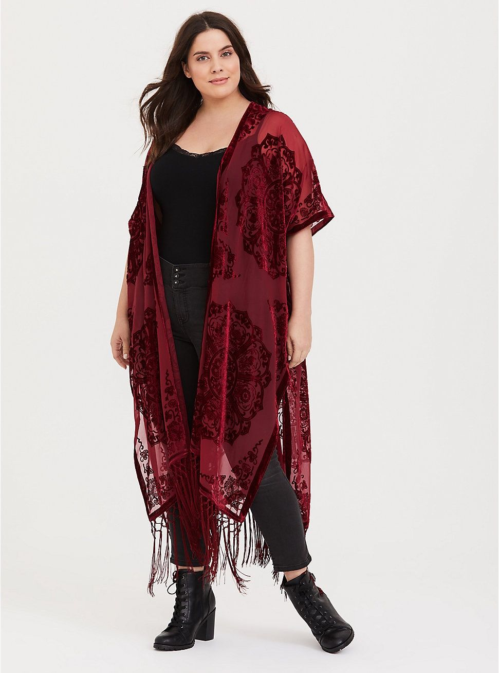 cc24f48b2 Red Burnout Velvet Chiffon Kimono in 2019   My Style   Chiffon ...