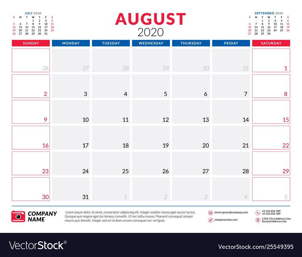 August 2020 calendar planner stationery design Vector Image ,