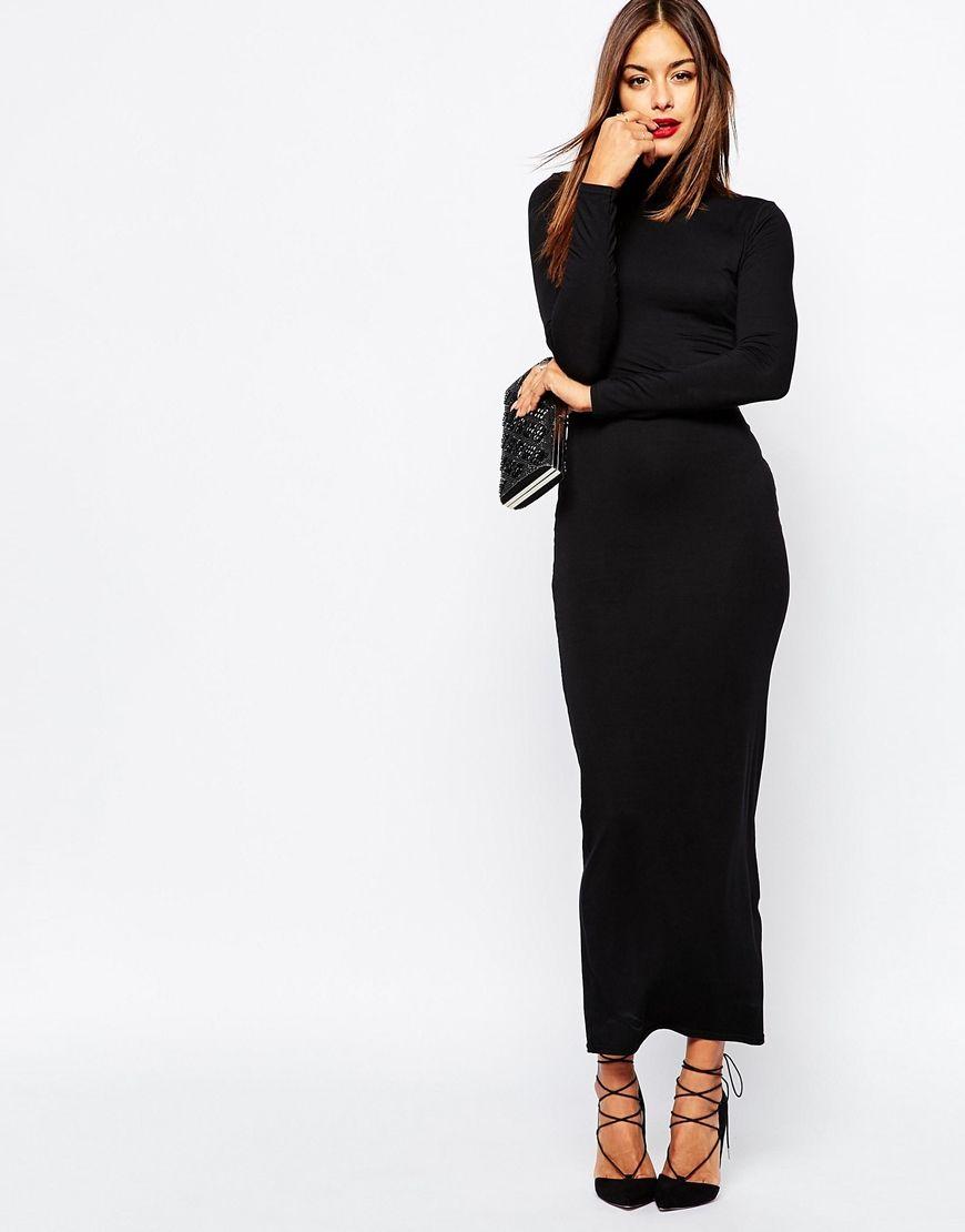 Missguided velvet racer high neck midi dress black in black lyst - Missguided High Neck Long Sleeve Maxi Dress In Black Lyst