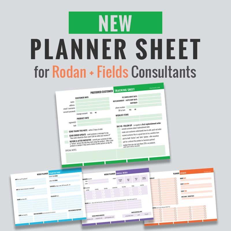 Rodan + Fields Preferred Customer Planner Sheet   Fields and Facial