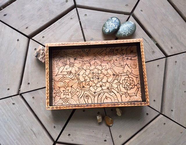 Wooden Mandala Tray - Black, Trinket Dish, Bohemian Home Decor, Wood Burned Mandala Art by LunaticJune on Etsy https://www.etsy.com/listing/235279640/wooden-mandala-tray-black-trinket-dish