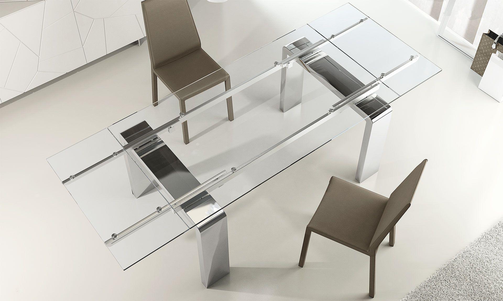Tavolo In ~ Tavolo in cristallo e acciaio mito e un tavolo allungabile con