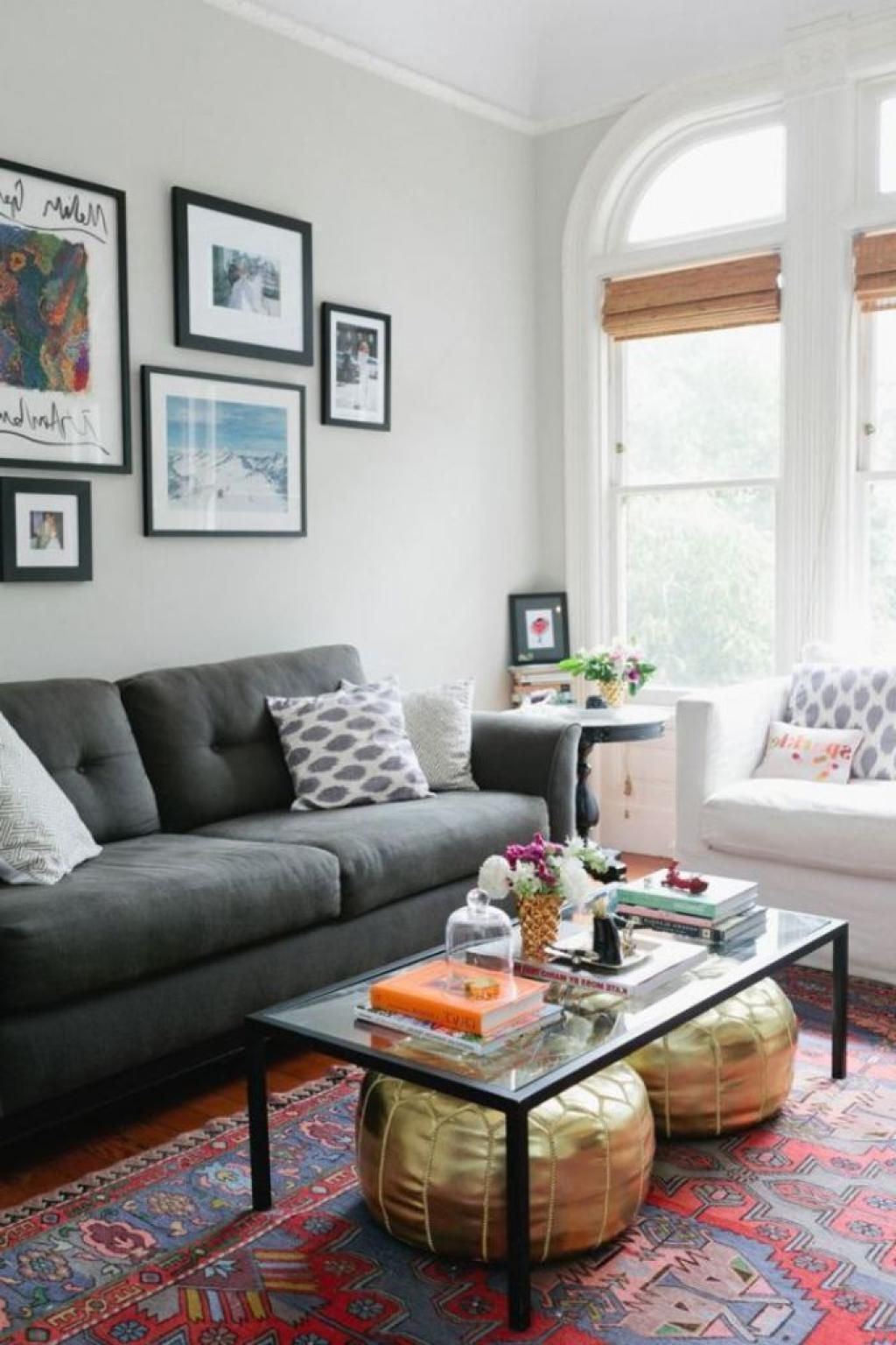 Cool Eclectic Living Room With Gray Sofa And Comfort Pillow Also ...