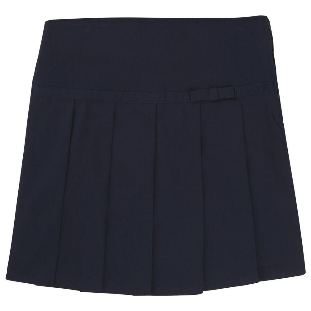 French Toast Pleated Scooter With Grosgrain Ribbon Girls Navy 10. Machine wash, Imported. Pleated Scooter with Grosgrain Ribbon(Size 7-14). 100% Polyester. Twill scooter with grosgrain ribbon trim bow detail. Imported. Machine wash. Sport shorts are beneath thescooter skirt.