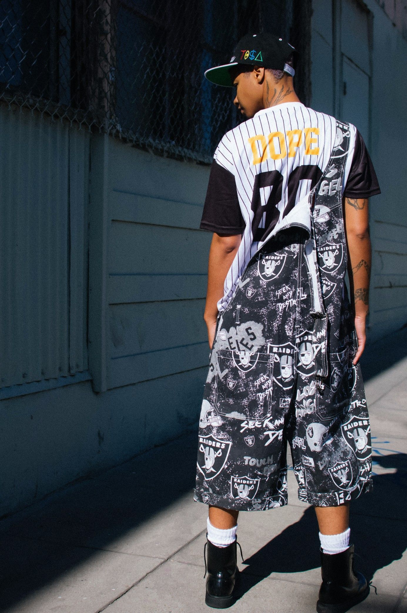 44a00ea17 80s and 90s Fashion ~ Hella Thrifty Dope Baseball Jersey inspired by White  Sox and 1990s Thrift Oakland Raiders Overalls with TI$A (TISA) Snapback  worn by ...