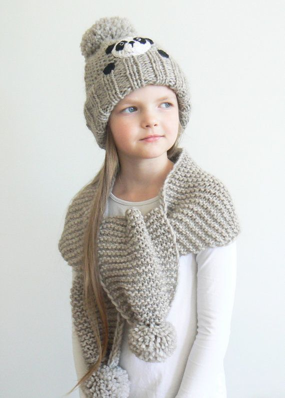 2288cb9535b Winter hat and Scarf Kids Outfit Panda Hat Knit Hat by 2mice