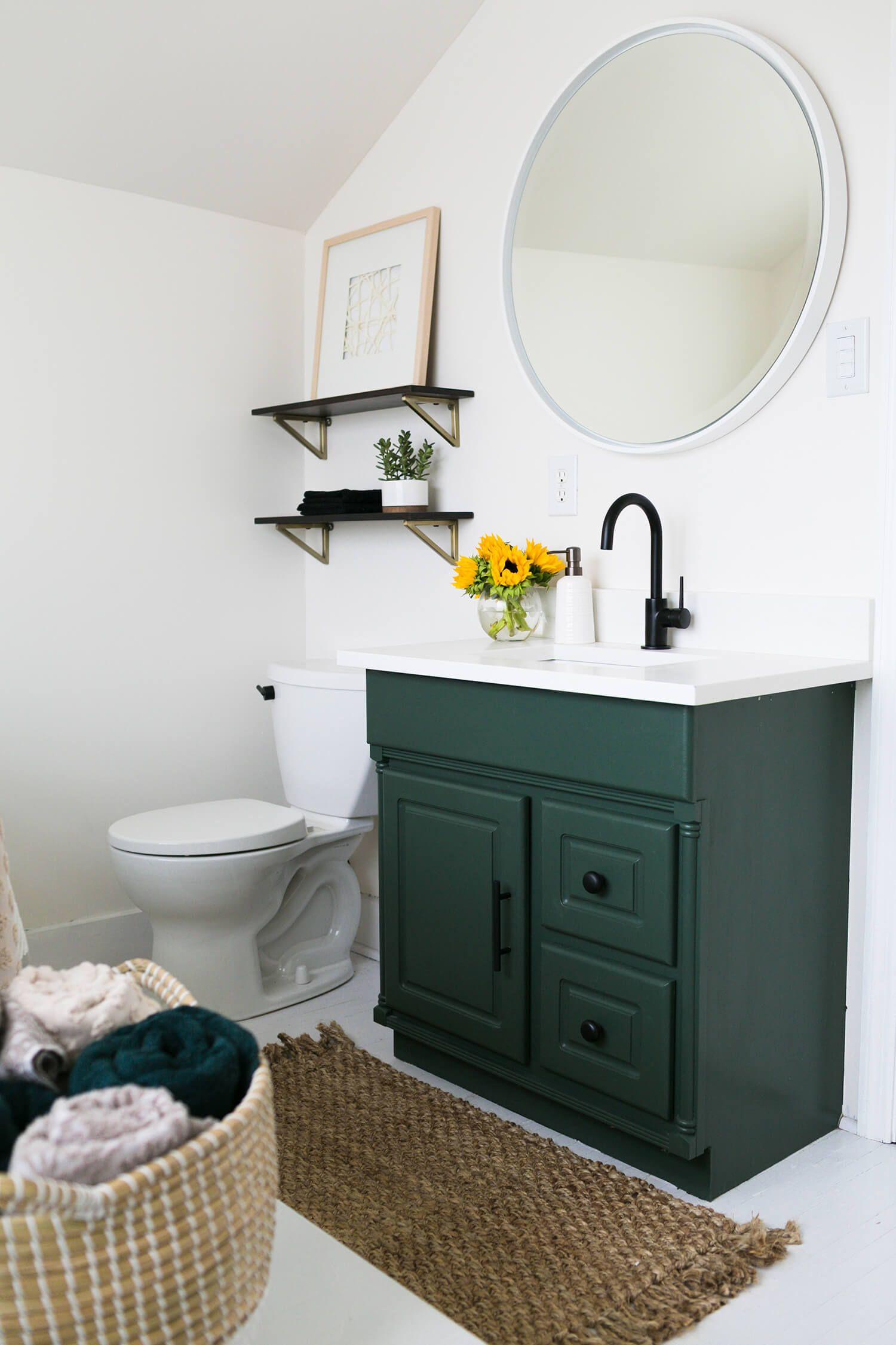Elsiesnashvillebnb Master Bathroom Reveal A Beautiful Mess Green Bathroom Master Bathroom Green Bathroom Vanity [ 2250 x 1500 Pixel ]