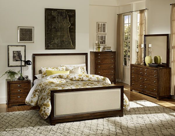 wood and upholstered bed
