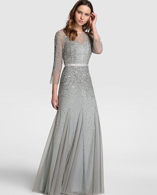 631673644 Vestido de noche de mujer Adrianna Papell con pedrería y falda plisada · Adrianna  Papell · Moda · El Corte Inglés