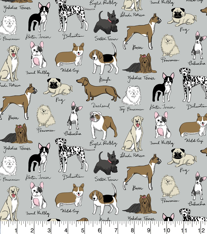 Snuggle Flannel Fabric Dog Breeds