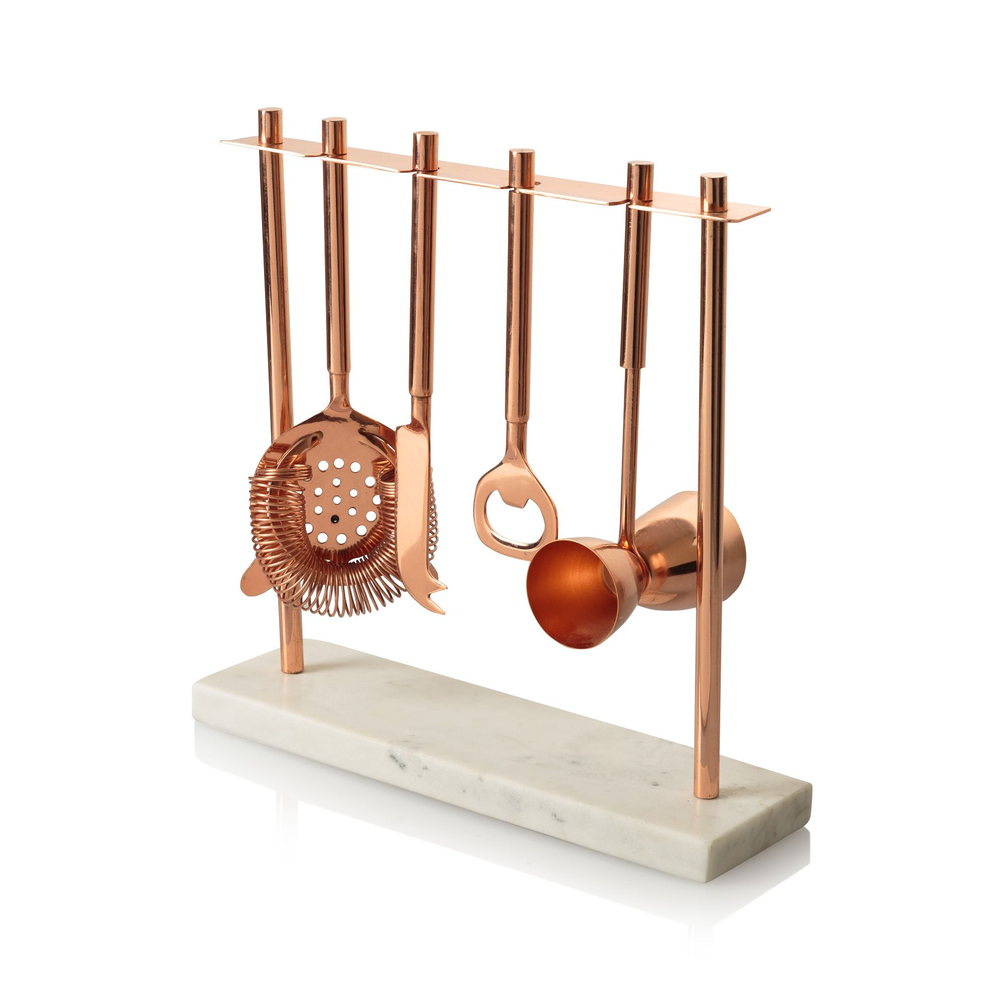 Buy the Marble & Copper Bar Tools Set at Oliver Bonas
