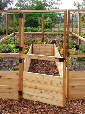Raised Garden Bed 8'x8' or 8'x12' with Deer Fence Kit | Gardener's Supply