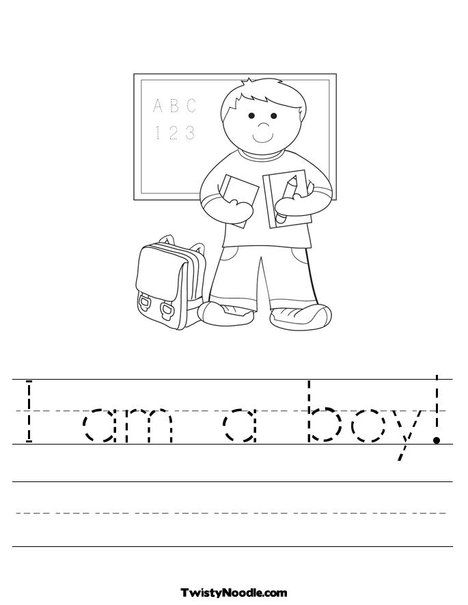 I Am A Boy Worksheet From Twistynoodle Com Worksheets For Kids