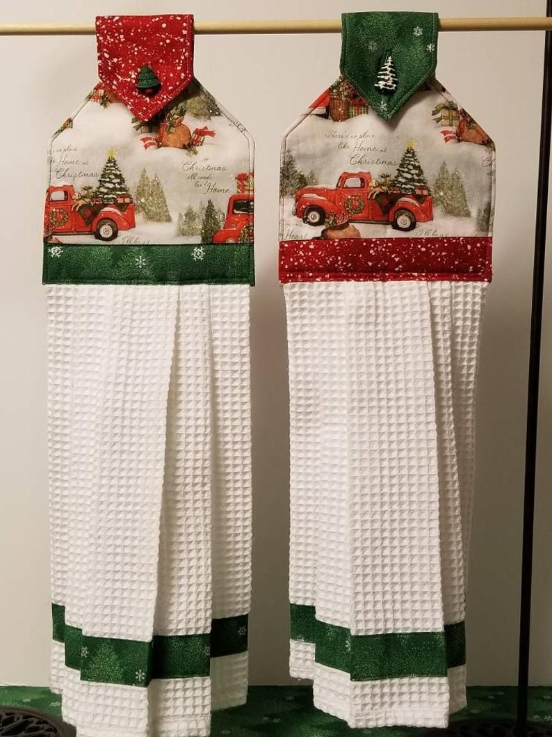 Red Truck Christmas fabric hanging towel w white woven | Etsy