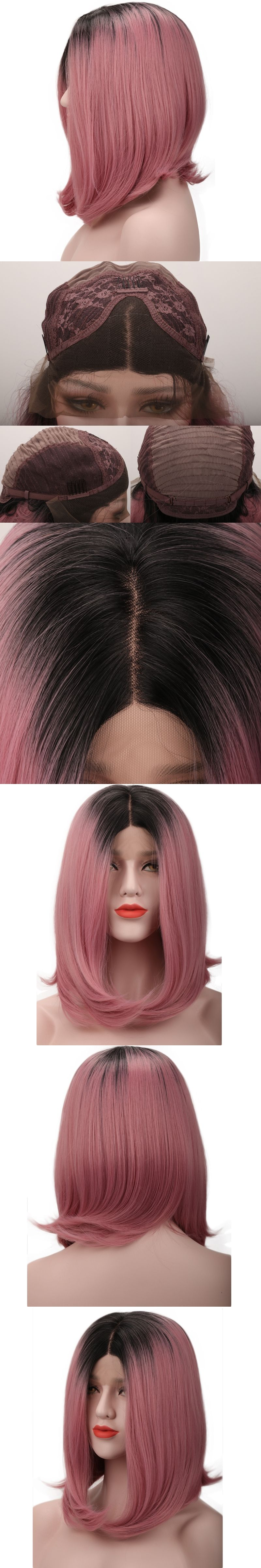 Symbol Of The Brand Alileader Two Tones Ombre Wig 14 Short Silky Straight Synthetic Hair Wig For Women Kanekalon Bob Style Afircan American Hair Hair Extensions & Wigs